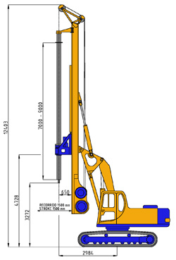 MODEL&CO, manufacturer of hydraulic rotary bored pile rig equipment RF6 for foundation engineering. MODEL&CO, manufacturer of foundation engineering equipment