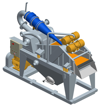 MODEL&CO, manufacturer of mini mud desanders of simple cycloning MD120R for foundation engineering. Desander for geothermal. MODEL&CO, manufacturer of foundation engineering equipment