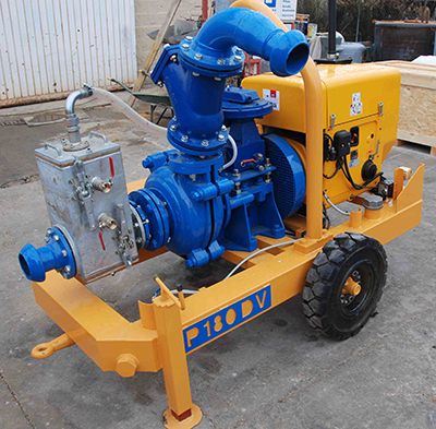 MODEL&CO, manufacturer of diesel selfpriming mud pump with vacuum system P180DV for foundation engineering. MODEL&CO, manufacturer of foundation engineering equipment