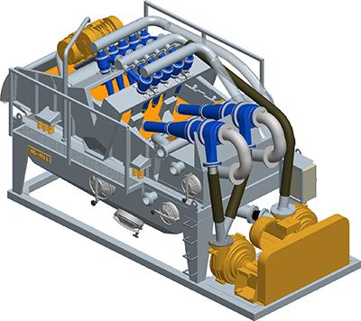 MODEL&CO, fabricante de desarenadores de lodos de doble ciclonado MD450D para obras de cimentaciones especiales. Fabricante de maquinaria de tratamiento de lodos