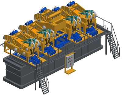 MODEL&CO, fabricante de desarenador estándar de lodos de simple ciclonado MD500 Modular para obras de cimentaciones especiales. Fabricante de maquinaria de tratamiento de lodos