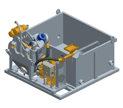 MODEL&CO, fabricante de mini desarenadores de lodos de simple ciclonado MD25 para obras de cimentaciones especiales. Desarenador para geotermia. Fabricante de maquinaria de tratamiento de lodos