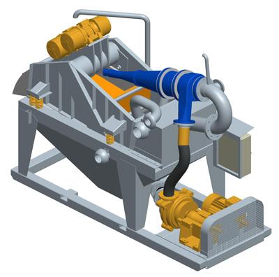 MODEL&CO, fabricante de mini desarenadores de lodos de simple ciclonado MD120R para obras de cimentaciones especiales. Desarenador para geotermia. Fabricante de maquinaria de tratamiento de lodos