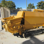 Used Putzmeister BSA 1406 D trailer pump for concrete. Used engineering foundation equipment for