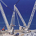 Used Liebherr LR11350 machine. Used > 100 ton ringer crane for engineering foundation equipment for
