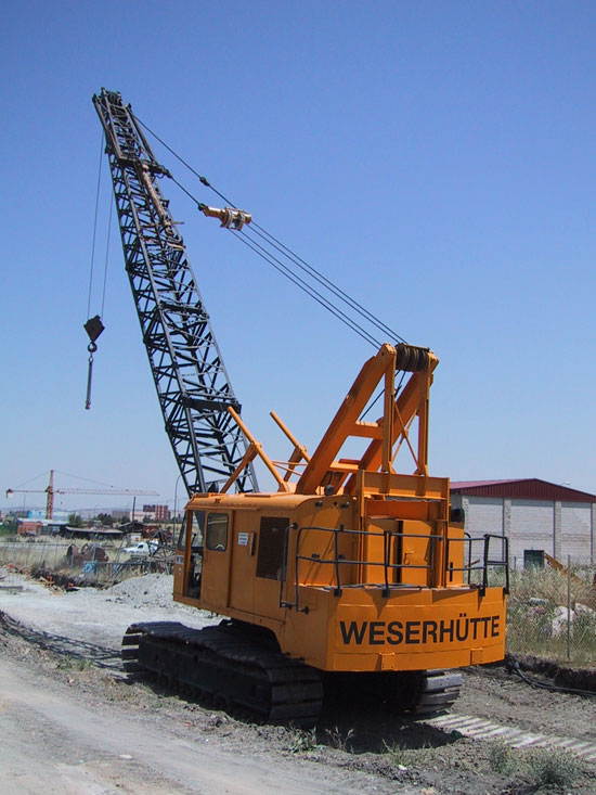 Second hand Weserhütte W180 crawler rope excavator with high line pull equipment. Used anchoring and micropiling machines equipment