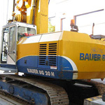 Used Bauer BG20H pile rig machine. Used engineering foundation equipment for piling rigs for large diameter boring